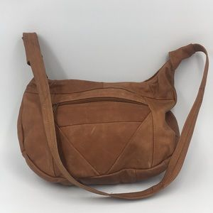 Imported BrownLeather Half Round Crossbody